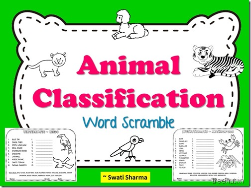Animal Classification Word Scramble Worksheets for Grades 3 to 5