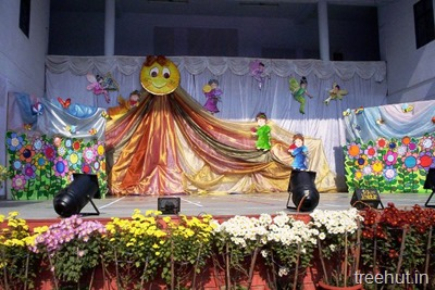 school stage backdrop decoration sun and garden