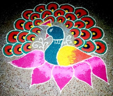 peacock-rangoli idea by Ananya La Martiniere Girls College Lucknow