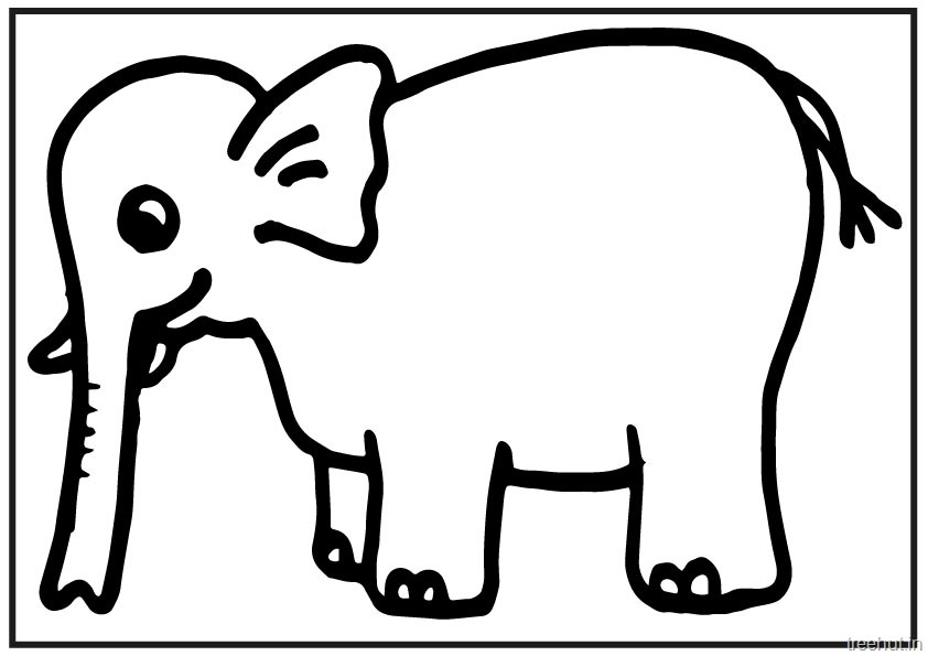 A4 Size Printable Elephant Coloring Pages for Kids