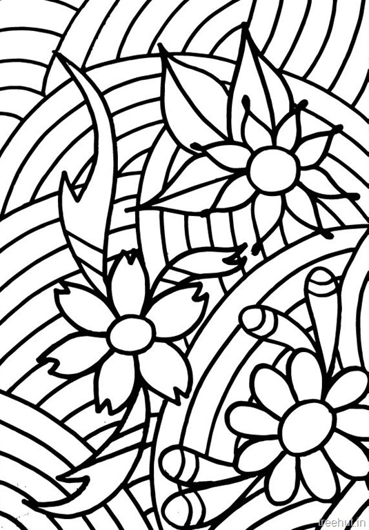 Abstract Flowers Coloring Pages For Teenagers