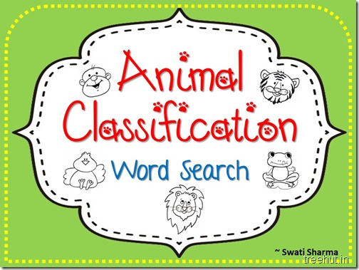Animal Classification Word Search