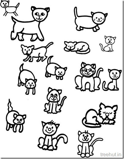 Cat Drawing and Coloring pages for kids (1)