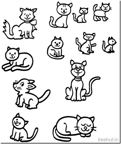 Cat Drawing and Coloring pages for kids (2)