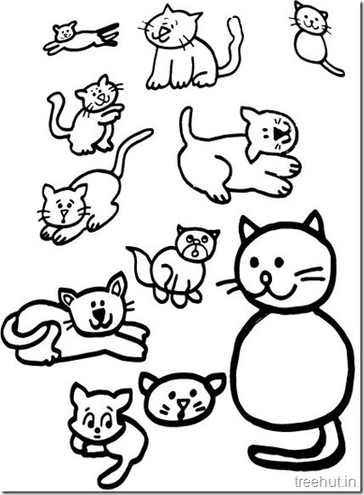 Cat Drawing and Coloring pages for kids (3)