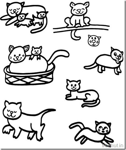 Cat Drawing and Coloring pages for kids (5)