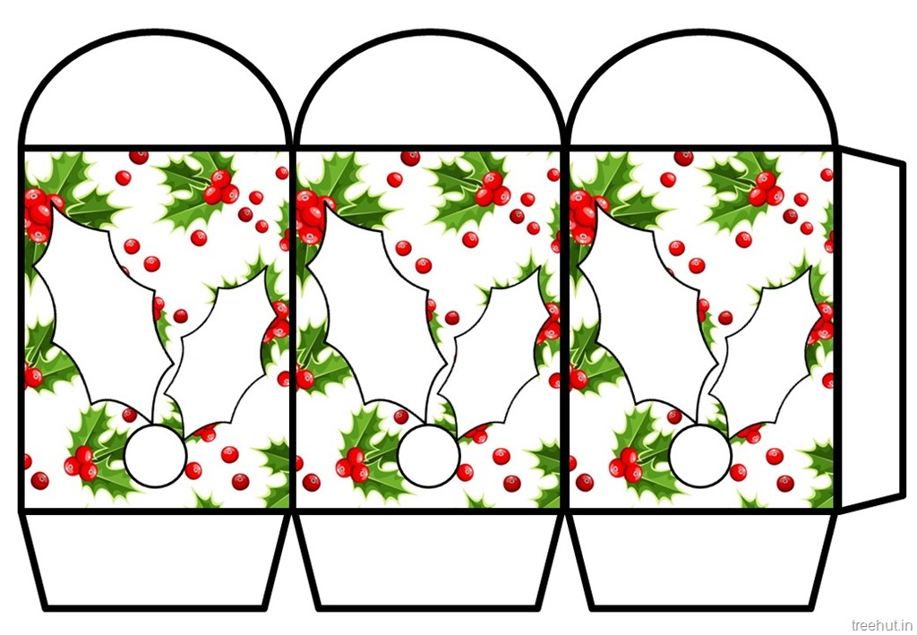 Colored Printable Christmas Paper Lantern Template