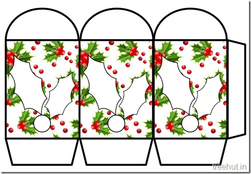 Colored Printable Christmas Holly  Paper Lantern Template (2)