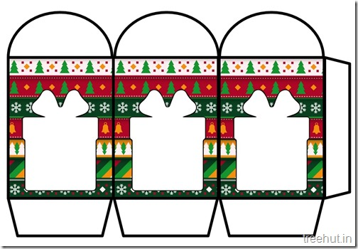 Colored Printable Christmas Present Paper Lantern Template (1)