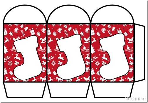 Colored Printable Christmas Stocking Paper Lantern Template (1)