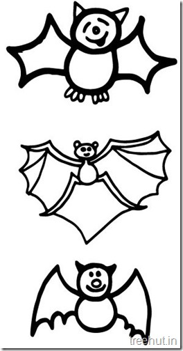 Flying Cute Bat Animal Coloring pages