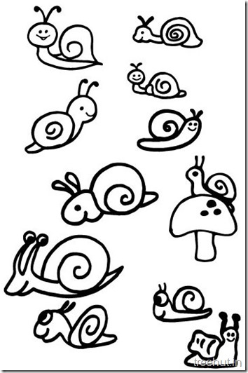 Cute Snail Drawing and Coloring Pages (2)