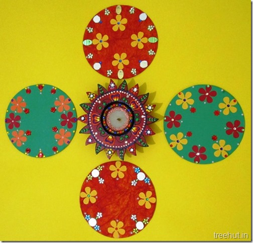 Easy Portable Rangoli Designs For Diwali Made From CDs Materials Used Handmade Decorations Of CD Are Old Paper Sequins