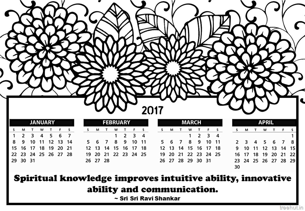 Free printable 2017 calendar coloring pages for Calendar coloring page