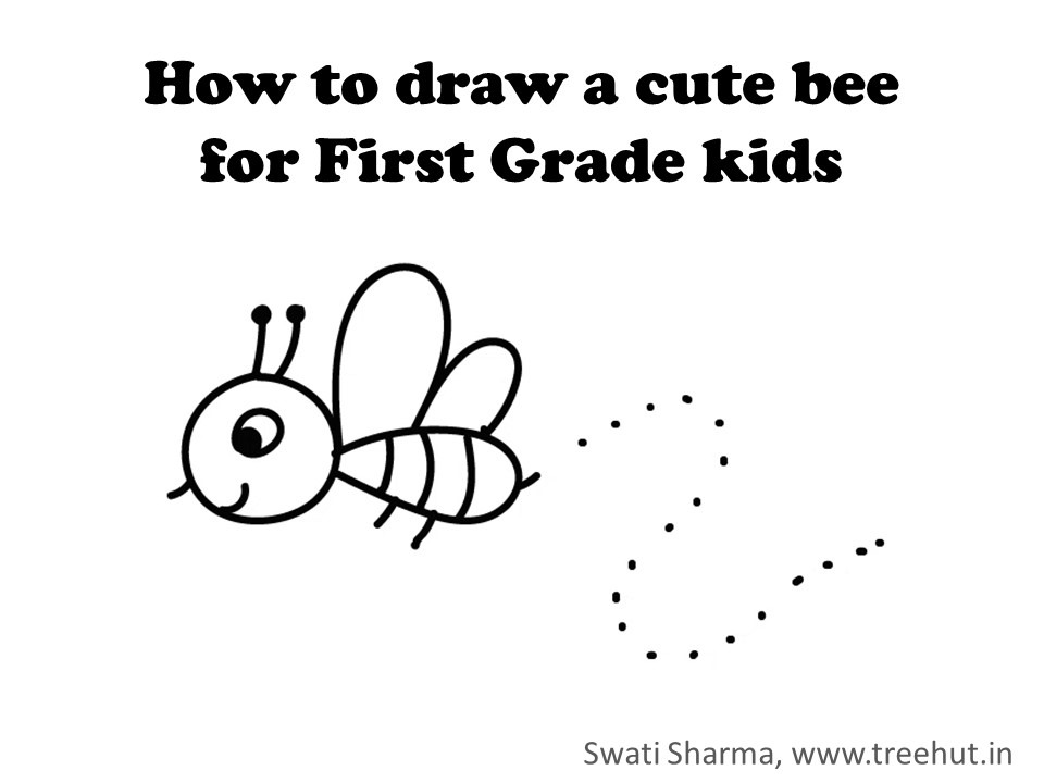How To Draw A Cute Bee For 1st Grade Kids