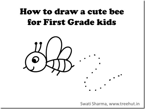 Video drawing instruction for Bee for First grade kids
