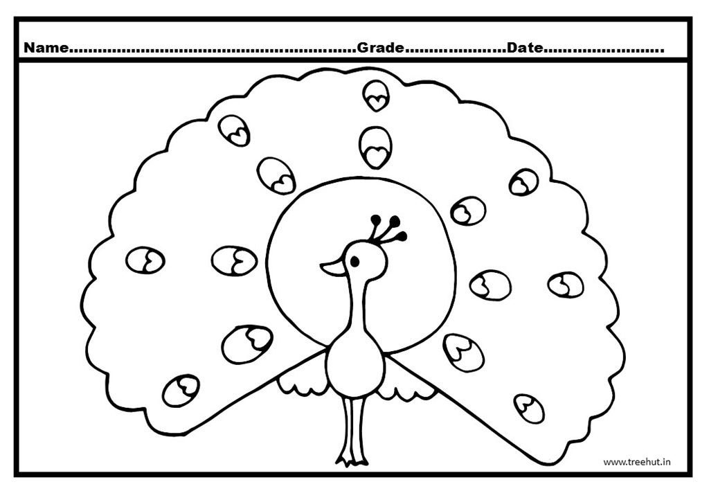 Peacock And Peahen Coloring Pages
