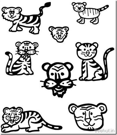 Tiger and Tiger Face Coloring Pages (2)