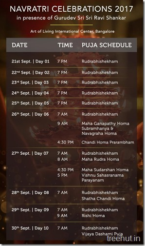 Navratri Schedule Art of Living 2017