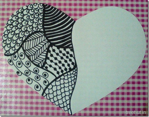 heart zentangle pattern
