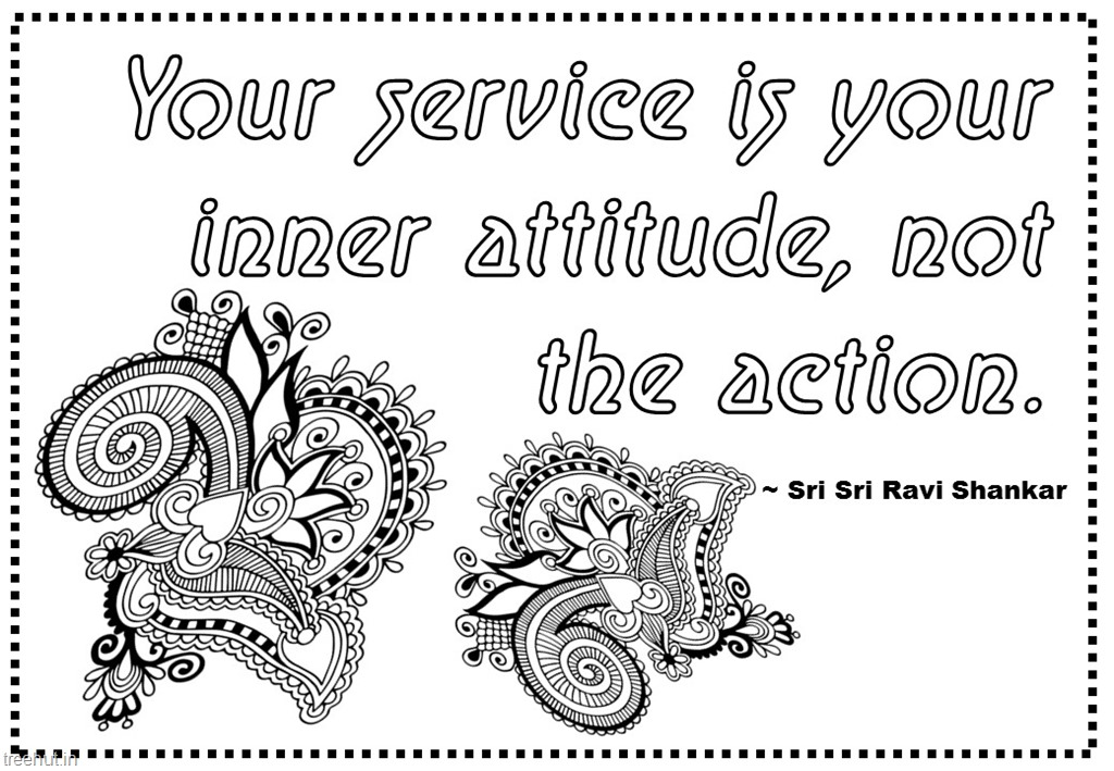 Seva Or Service Quotes Coloring Pages By Sri Sri Ravi Shankar