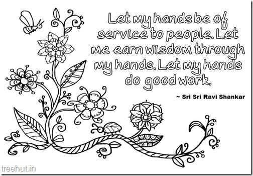 Seva Or Service Quotes Coloring Pages By Sri Sri Ravi Shankar