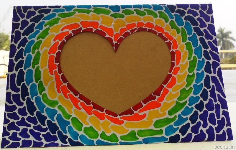 Paper Mosaic Art Heart Photo Frame