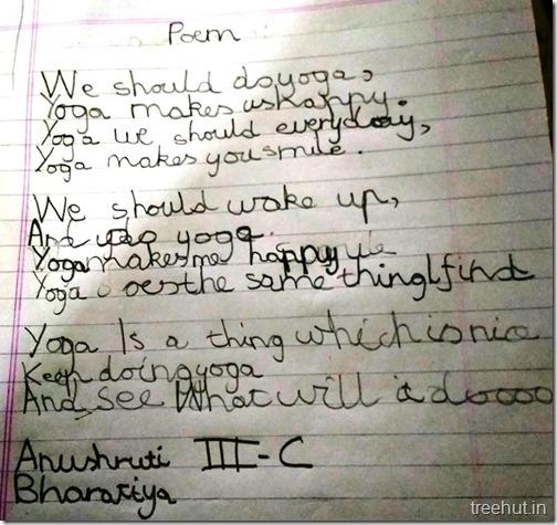 Poem on Yoga by Kids
