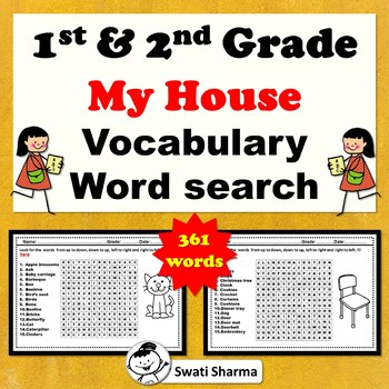 1st & 2nd Grade, My House Vocabulary Word search Worksheets