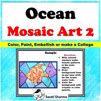 Ocean Mosaic Art Project, Set 2, Art Sub Plan, No Prep Classroom Display