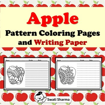 Apple Pattern Coloring Pages and Writing Paper