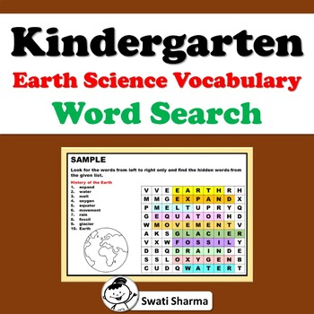 Kindergarten Earth Science Vocabulary, Word Search Worksheets