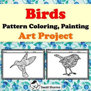 Birds, Pattern Coloring, Art Project, Spring Art Sub Plan, Classroom Display