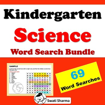 Kindergarten, Science Vocabulary, Word Search Bundle