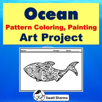 Ocean Pattern Coloring, Art Project, Elementary Art Sub Plan