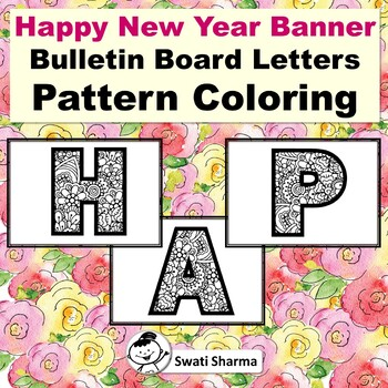 Happy New Year Bulletin Board Letters, Pattern Coloring, Classroom Display