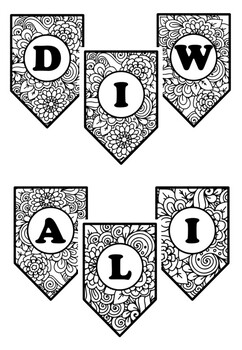 Happy Diwali, Pennant Banner, Bulletin Board Letters, Pattern Coloring, Art Plan