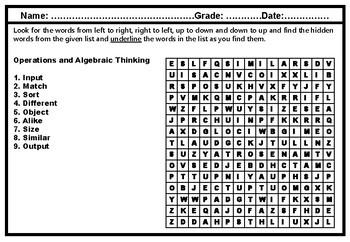 1st Grade, Math, Algebraic Thinking, Word Search Worksheets