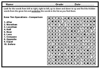 1st Grade Math, Number Operations in Base Ten, Word Search Worksheets
