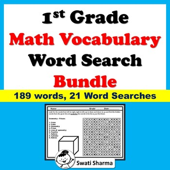 1st Grade, Math Vocabulary, Word Search Worksheets, Bundle