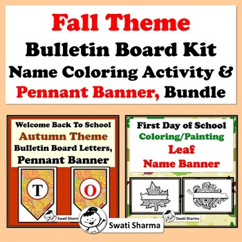 Fall Theme Bulletin Board Kit, Name Coloring Activity & Pennant Banner, Bundle