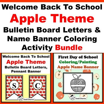 Back To School Apple, Bulletin Board Letters & Name Banner Coloring, Bundle