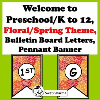 Welcome to Preschool/K to 12, Floral, Bulletin Board Letters, Pennant Banner