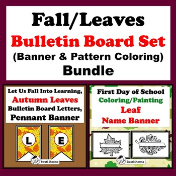 Fall and Leaves Bulletin Board Set, Banner & Pattern Coloring Bundle