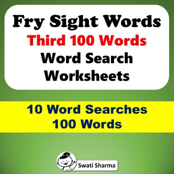Fry Sight Words Third 100 Words, Word Search Worksheets