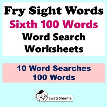 Fry Sight Words, Sixth 100 Words, Word search Worksheets