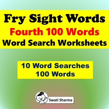 Fry Sight Words, Fourth 100 Words, Word search Worksheets