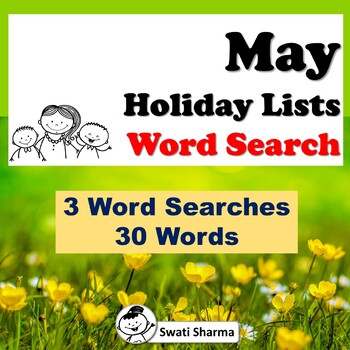 May Holiday Lists, Word Search Worksheets