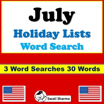July Holiday Lists, Word Search Worksheets