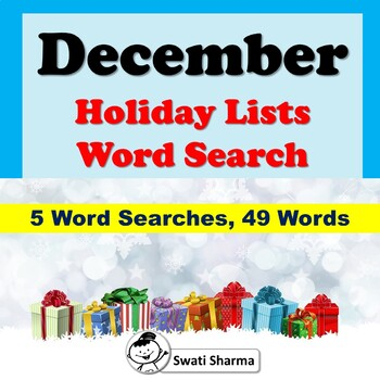 December Holiday Lists, Word Search Worksheets, No Prep Sub Plans